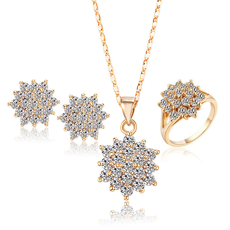 Platinum Plated Bridal Jewelry Sets For Women Pendant Necklace Ring Earrings Crystal, Free shipping(SW-45)