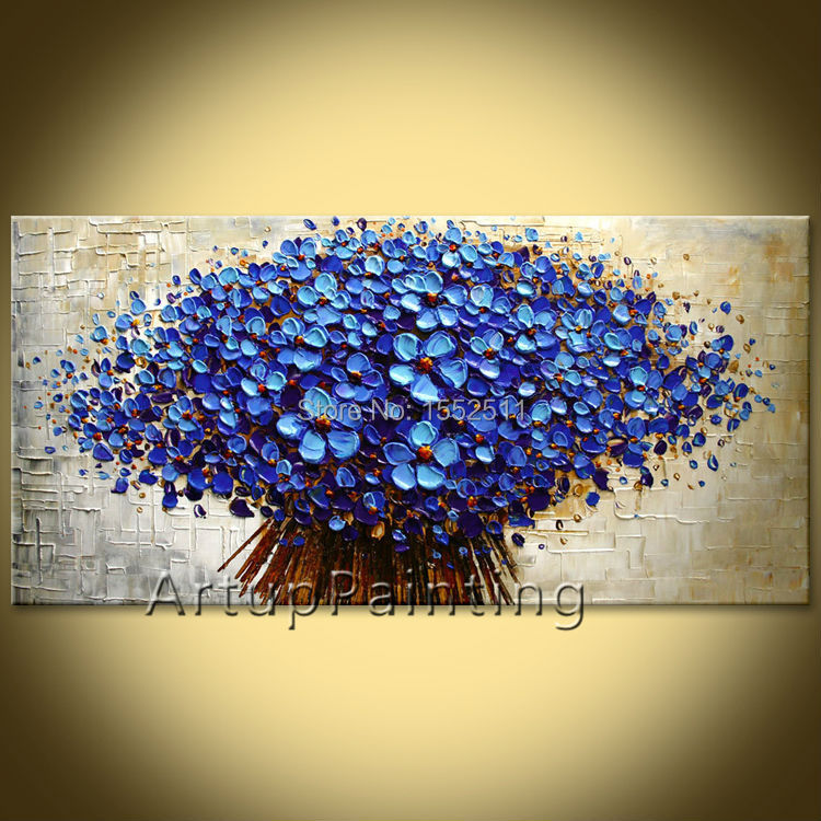 Flower hand-painted wall painting palette knife wild flower abstract oil painting canvas modern room decorates living room 02(China (Mainland))
