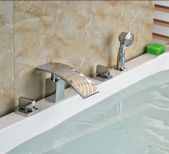 Фотография W/Hand Shower Bathroom Faucet 5pcs Tub Tap Hot&Cold Faucet Deck Mounted Shape