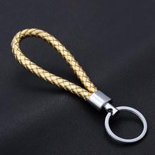 Llavero tejido de cuerda de cuero hecho a mano de moda llaveros de Metal llaveros hombres o mujeres llavero de la cubierta de la llave Auto llavero regalos(China)
