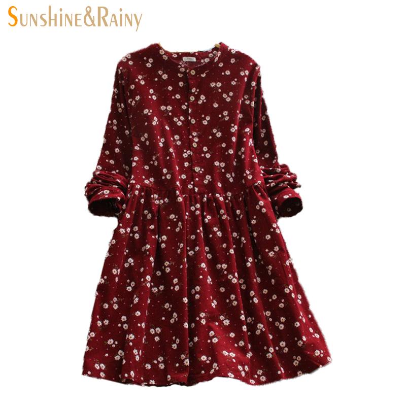 2016 Japanese korean style long sleeved autumn fall all match fashion small flowers print floral fashion corduroy woman dress(China (Mainland))