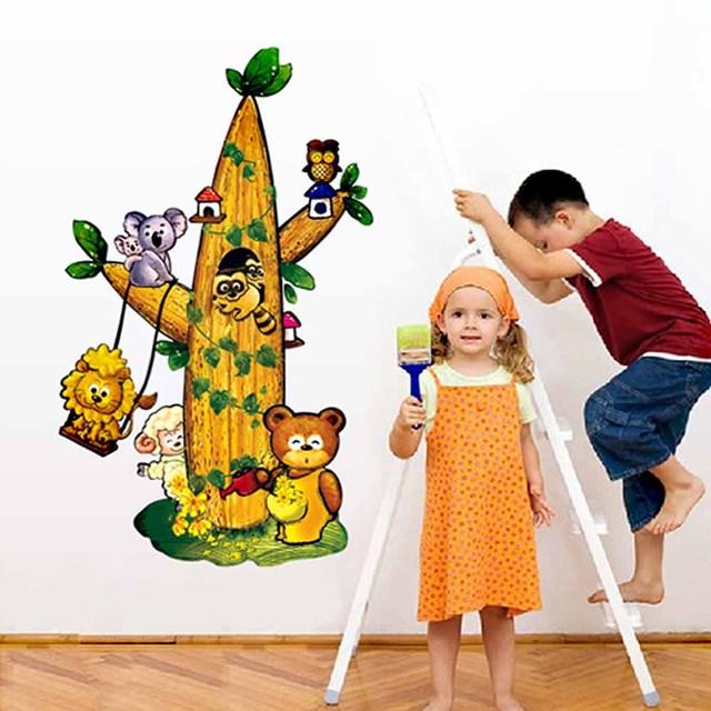 Мультфильм животных медведь лев играть на дереве стены стикеры для детская комната декоративные наклейки на стены детская обои 7125
