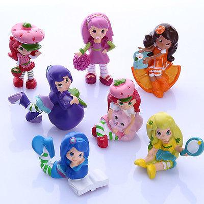 New Fashion Lot of 7 PCS Strawberry Shortcake Cupcake Cake Toppers PVC Figure Toy Doll(China (Mainland))