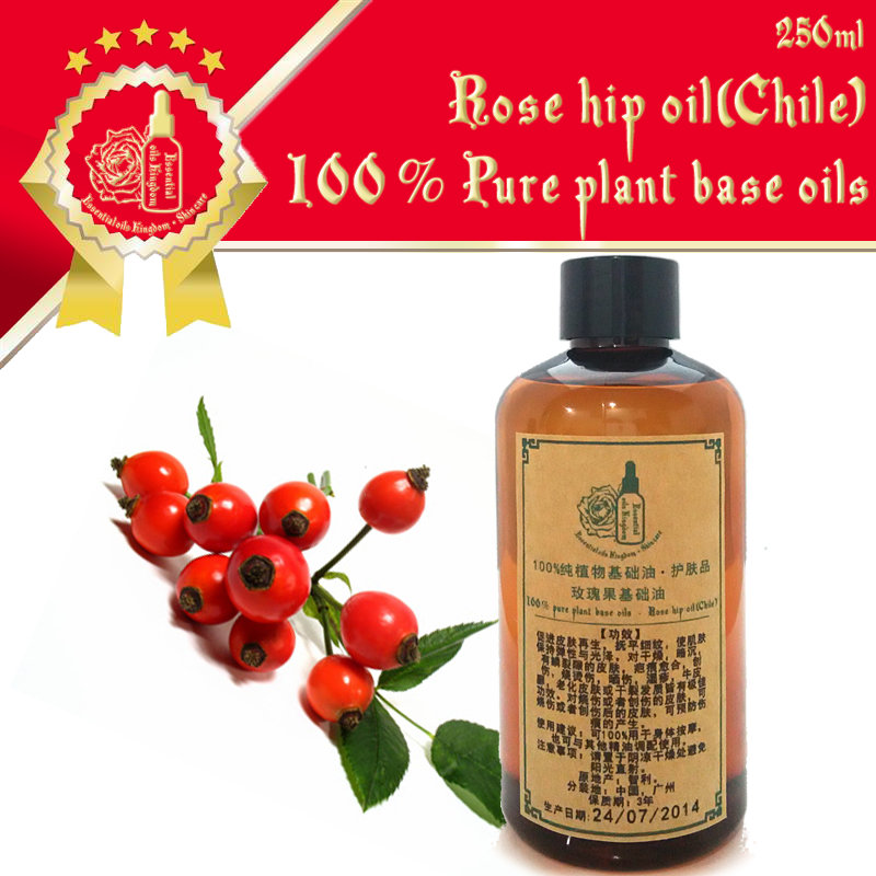 100% pure plant base oil Essential oils skin care Chile Rose Hip Oil 250ml Promote blood circulation Detox Fade scars(China (Mainland))