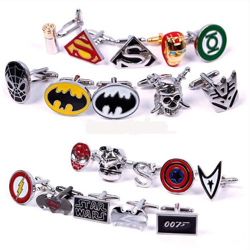 1 Pair Fashion High Quality Hot Sale Super Hero Superhero Cufflink Biggest Promotion New Best Gift Good(China (Mainland))