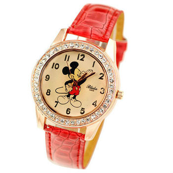 watch mickey mouse women wristwatches leather strap watches women with strass relogio tag hour clock relojes vintage mujer