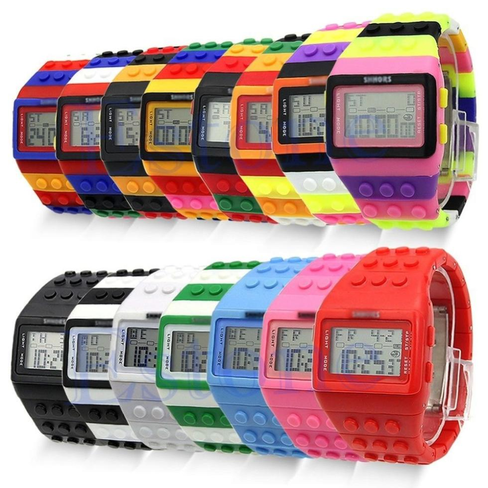 W110Rubber Multicolor Rainbow Band Block Digital LED Date Day Unisex Sport Watch Hot Sale 15Colors