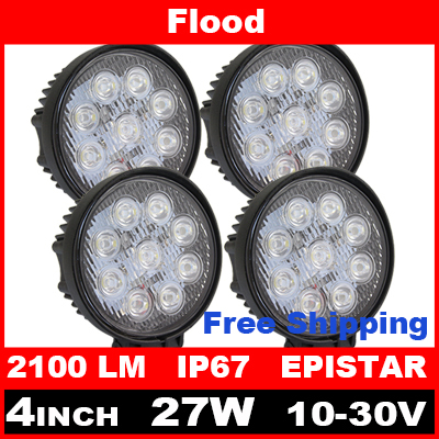 4pcs 4 Inch 27W LED Work Light Bar for Indicators Motorcycle Driving Offroad Boat Car Tractor Truck 4x4 SUV ATV Flood 12V(China (Mainland))