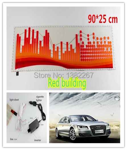 Hotselling 10sets lot Red building car Music Rhythm Lamp Music Activated audio equalizer sticker EL Sheet
