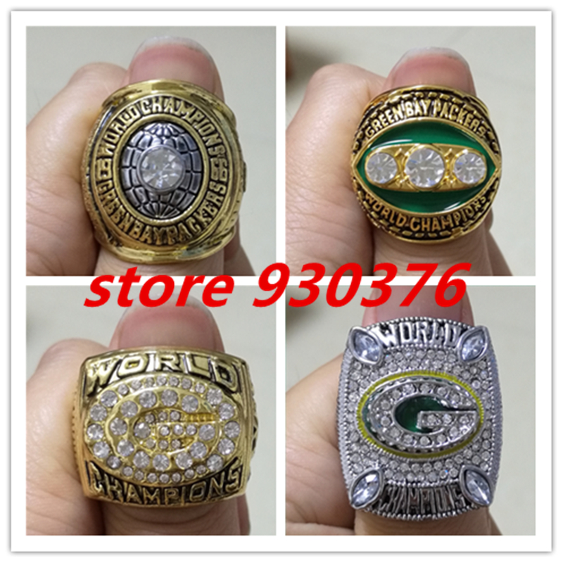 wholesale 1966 1967 1996 2010 GREEN BAY PACKERS super bowl championship ring, Four Rings Together,fan gift(China (Mainland))