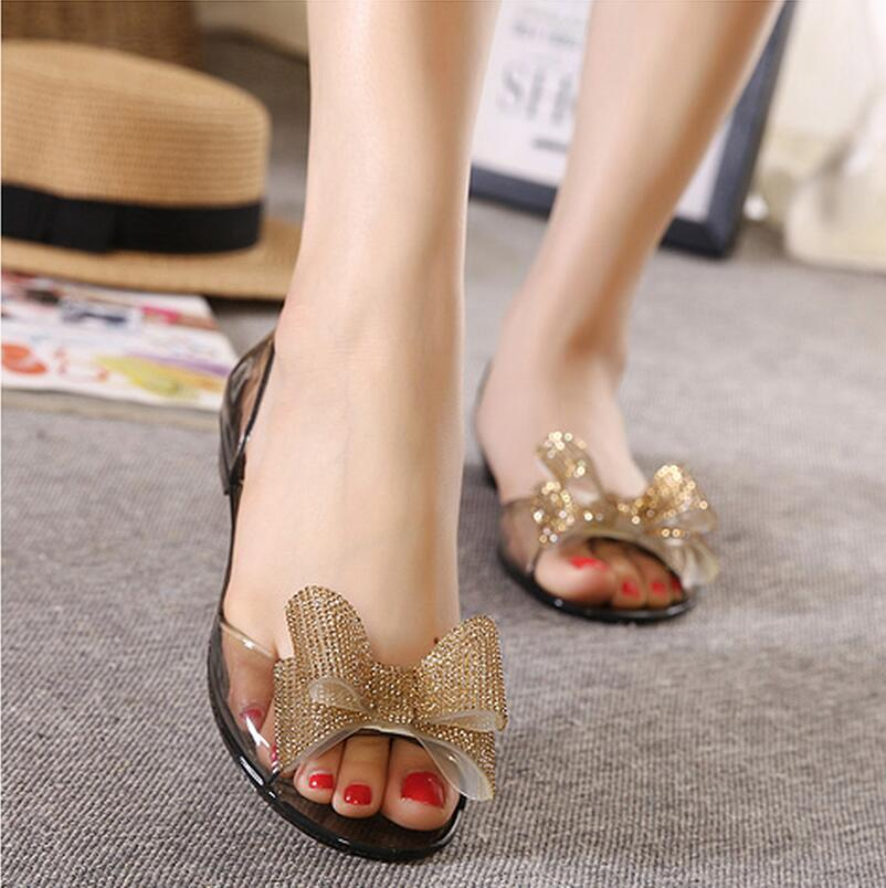 2016 New Fashion Rubber Jelly Heeled Shoes Crystal Melissa Shoes Cute Rhinestones Butterfly Sandals Open Toe Beach Shoes(China (Mainland))