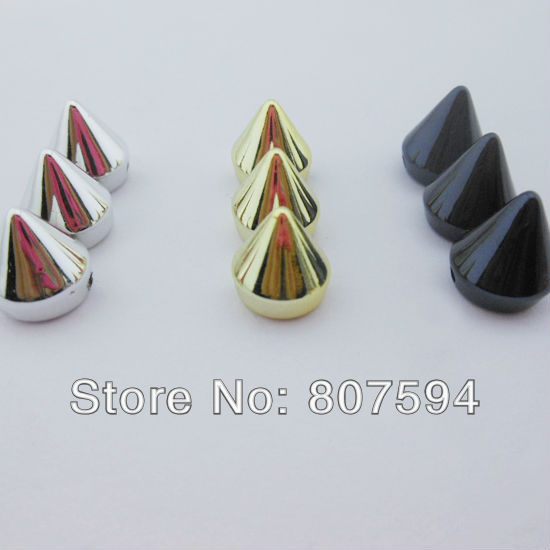 200pcs Silver and Gold and black color Tone Bullet Cone Spike Acrylic Bead Punk Rivet Bracelet Spacer Stud Beads 10x18mm B13(China (Mainland))