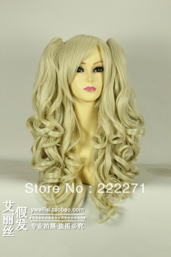 FREE SHIPPING Anime Lolita Split type Long Wavy Light Blonde Full Lace Cosplay Wig Ponytail Costume Heat Resistant + Cap<br><br>Aliexpress