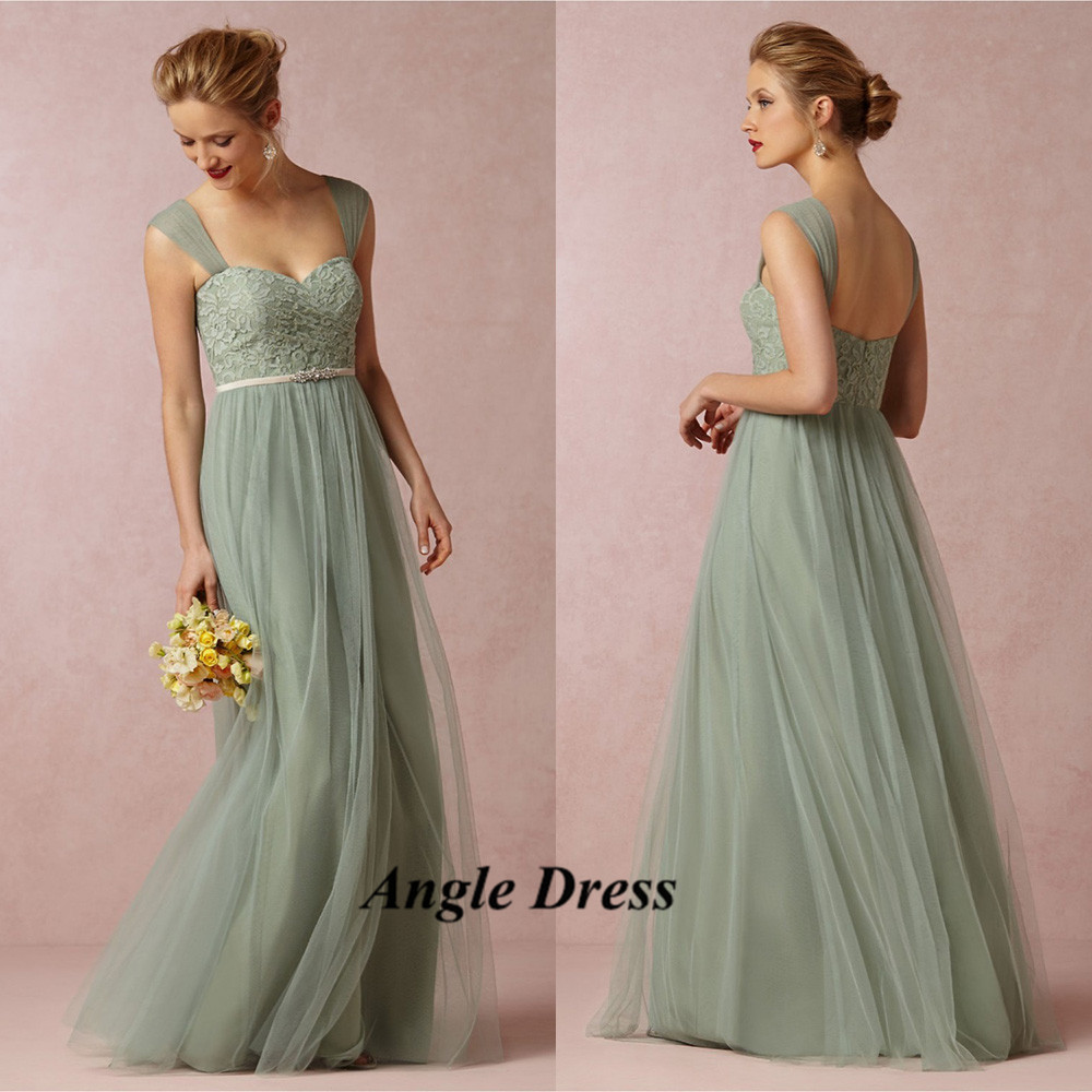 Cheap Mint Green Bridesmaid Dresses Lace Long Wedding