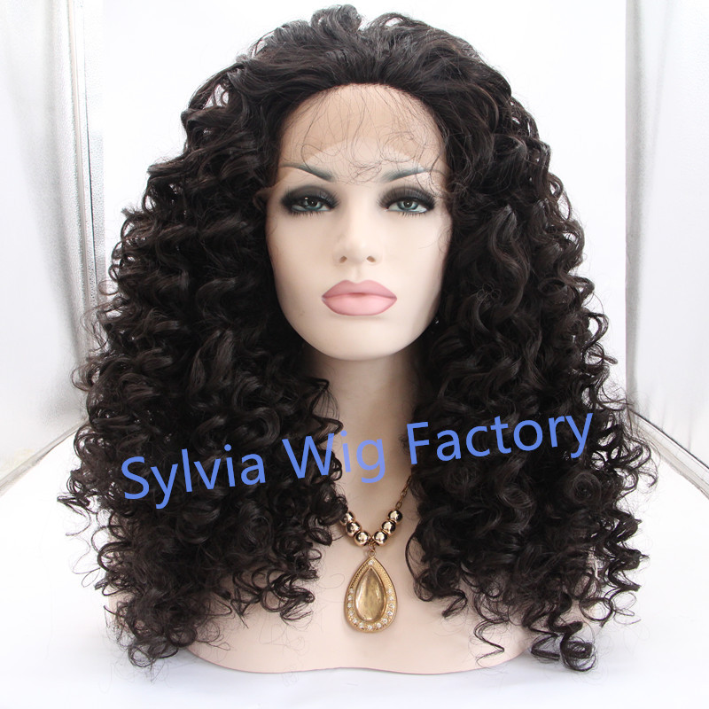 Hot selling good quality curly lace front wig for African synthetic wig heat resistant fiber wigs Synthetic Hair free shipping