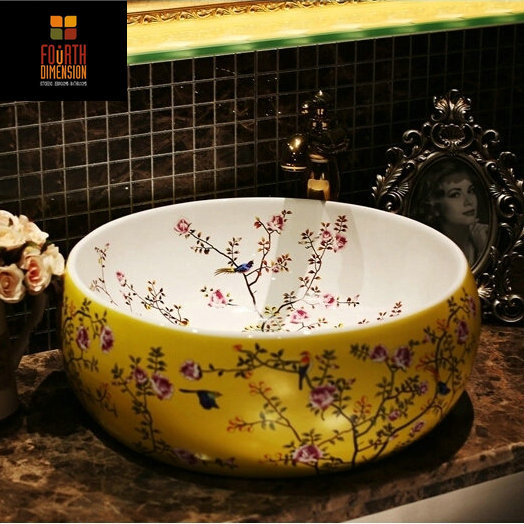 4Colors, New Birds Flower Countertop Lavobo Ceramic Bathroom Bowl Sink Wash Basin - The Fourth Dimension Of Life store