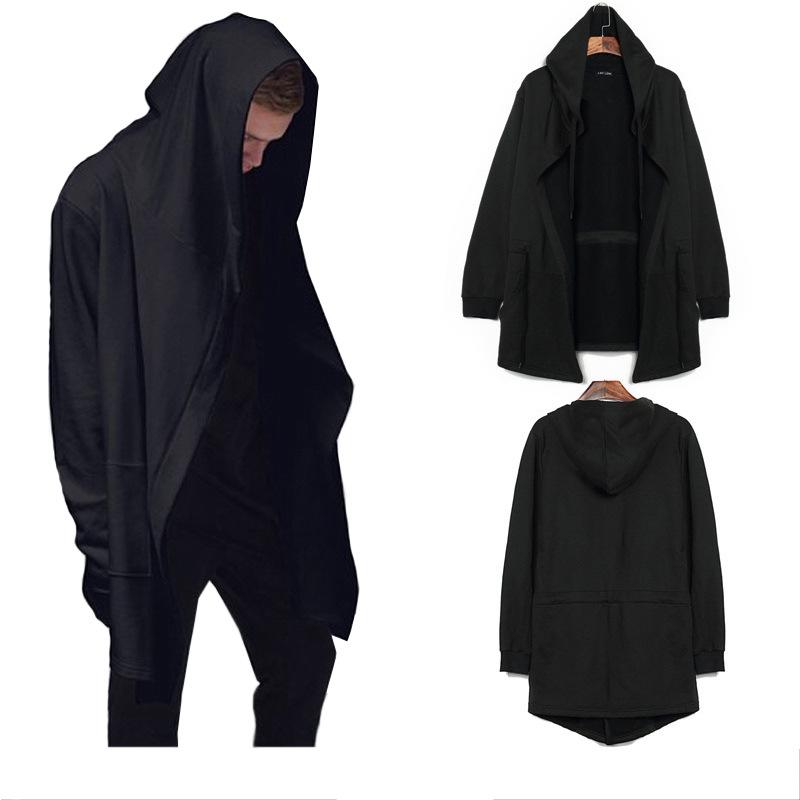 2016 Hi Hop Style Men Hoodies Sweatshirts Cloak Long Sleeves Shawl Outwear Streetwear Plus Size Black Cloak Hooded Male Hoodie(China (Mainland))