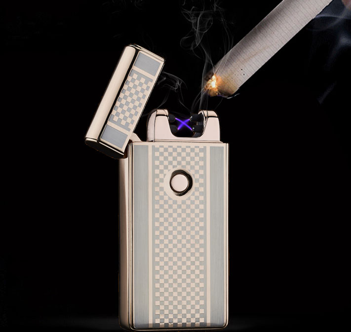 Metal double arc lighter,Usb recharge lighter can put in cigarette case/box(China (Mainland))
