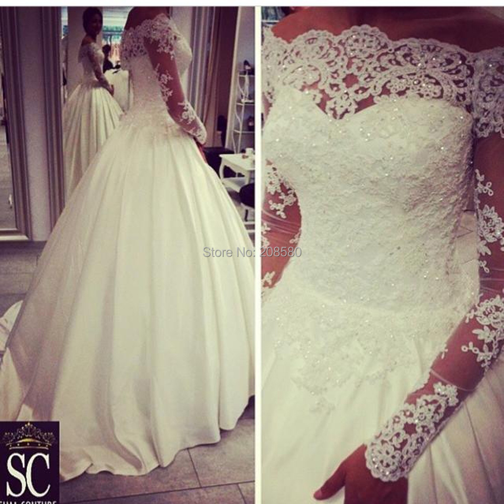 Real Model Long Sleeve Bridal Dress Beaded 2015 Bling White Puffy Lace ...