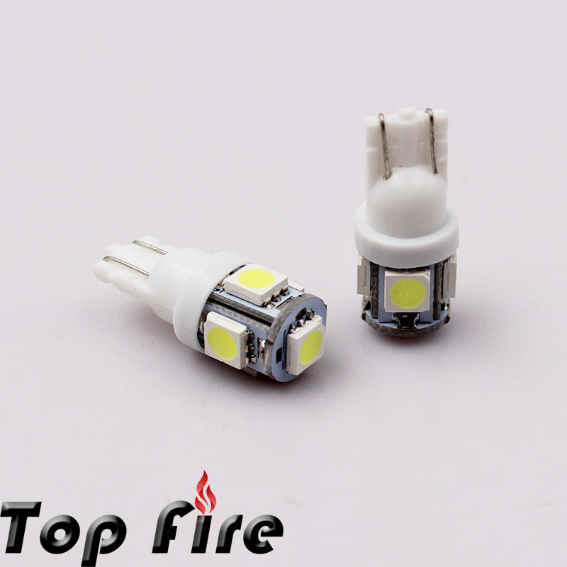 Wholesale 10pcs/Lot Canbus T10 5smd 5050 LED car Light Canbus W5W 194 5050 SMD Error Free White Light Bulbs(China (Mainland))