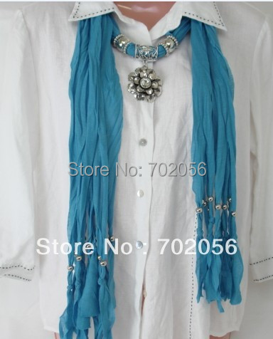 Solid floral Pendant Scarves Jewelry Scarves Popular Jewelry Scarf Mixed Colors 20pcs/lot #2883(China (Mainland))