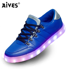 AIVES Lights Up Luminous Superstar Casual Flats Blue Red Shoes Men LED Shoes For Adults Fashion Footwear Glowing Dance Shoes
