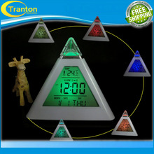 New Fashion Pyramid Temperature 7 Colors LED Change Backlight LED Alarm Clock(China (Mainland))