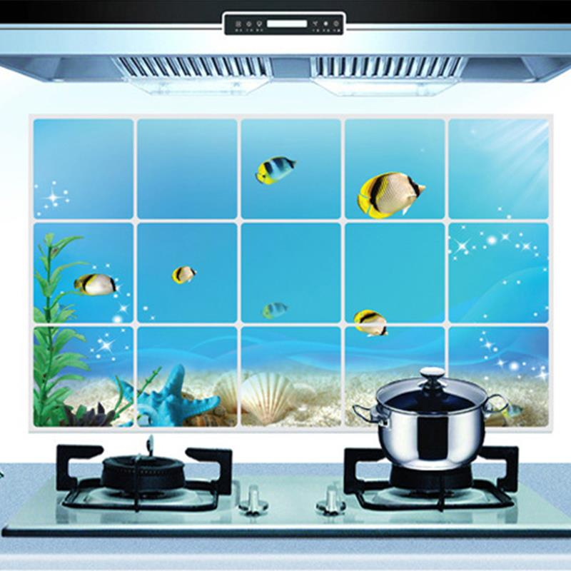 75*45cm Home Decor Kitchen Room Anti Oil Wall Sticker Fish Underwater World Mural Art Foil Decals Wallpaper Prevent Fumes(China (Mainland))