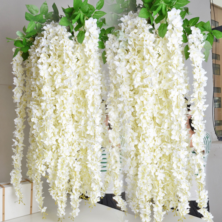 1.6M Artificial Wisteria Flower Rattan Silk Flower Vines Garlands For Wedding Party Centerpieces Decorations Home Ornament(China (Mainland))