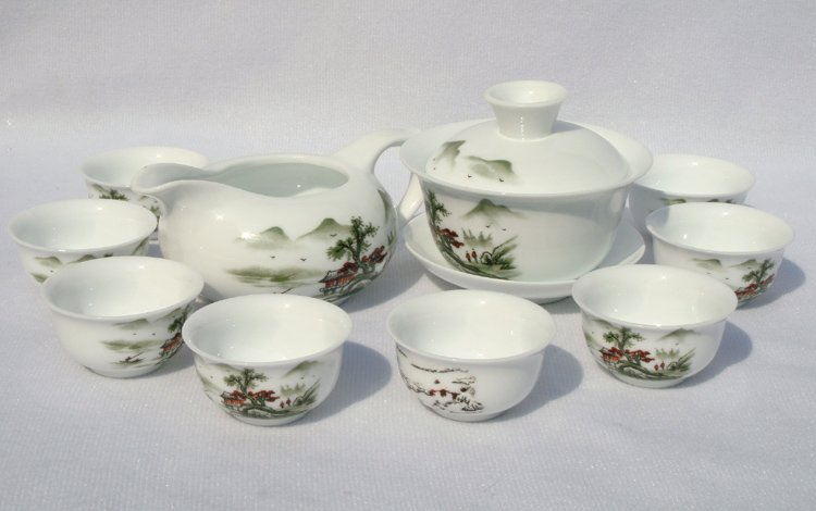 10pcs smart China Tea Set Pottery Teaset Autumn A3TM19 Free Shipping