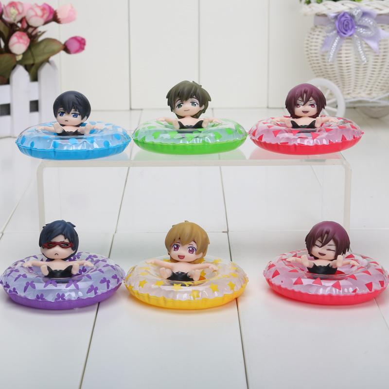 6pcs/set 5cm PVC anime free! Iwatobi Swim Club Rin Macoto Haruka Nanase Rei action figures Collectible Model(China (Mainland))