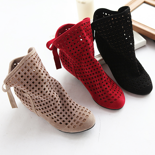 Big Size 34-43 Women's Summer Boots Flats Low Hidden Wedges Cutout Ankle Boots Ladies Dress Casual Shoes Hot sale Cute Flock(China (Mainland))