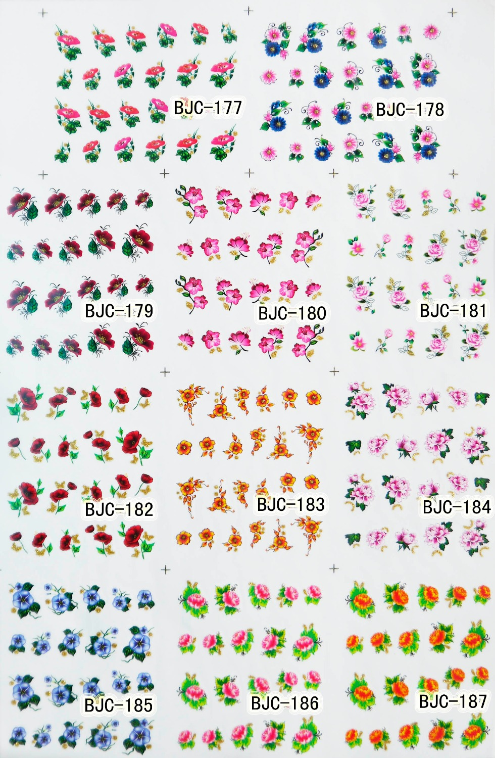 HOTSALE LARGE 1 SET(11 DESIGNS IN 1) BJC177-198 Water decal Nail Sticker Flower design nail sticker For nail accessories(China (Mainland))