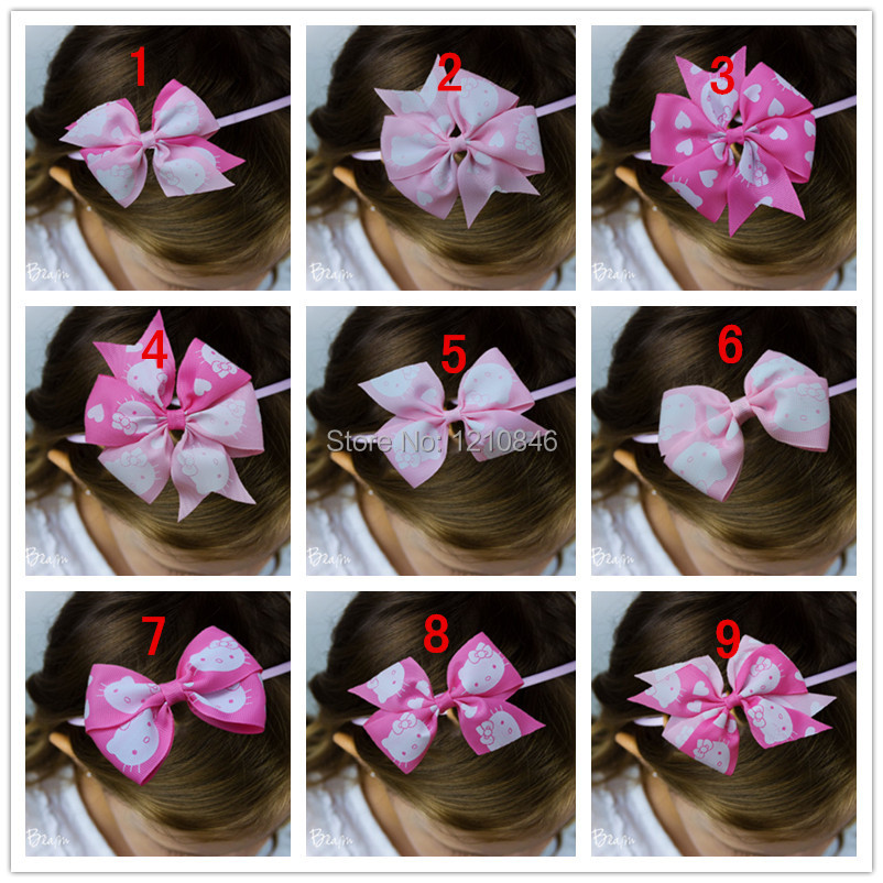 2015 Valentine's Day baby girl grosgrain ribbon bow headband Hello Kitty bows thin Elastic hairband for infant hair Accessories(China (Mainland))