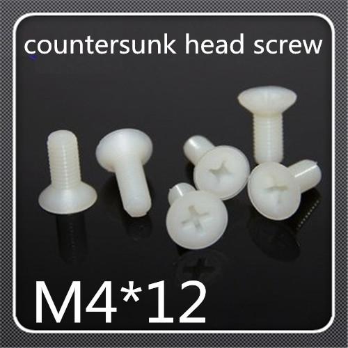 500pcs/lot M4*12 Nylon Plastic insulation Phillips Cross Recessed Flat Countersunk Head Machine Screw <br><br>Aliexpress