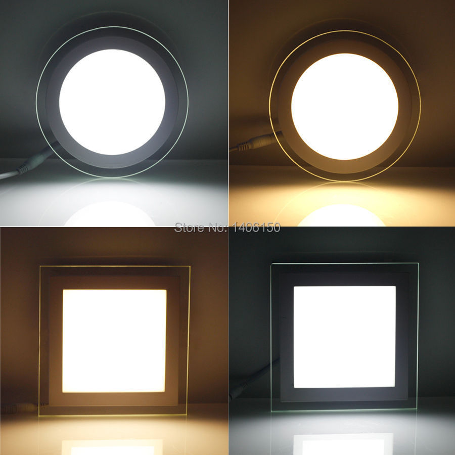 6w LED Glasses Recessed Square Round Ceiling Panel Down Light Bulb Lamp DHL F