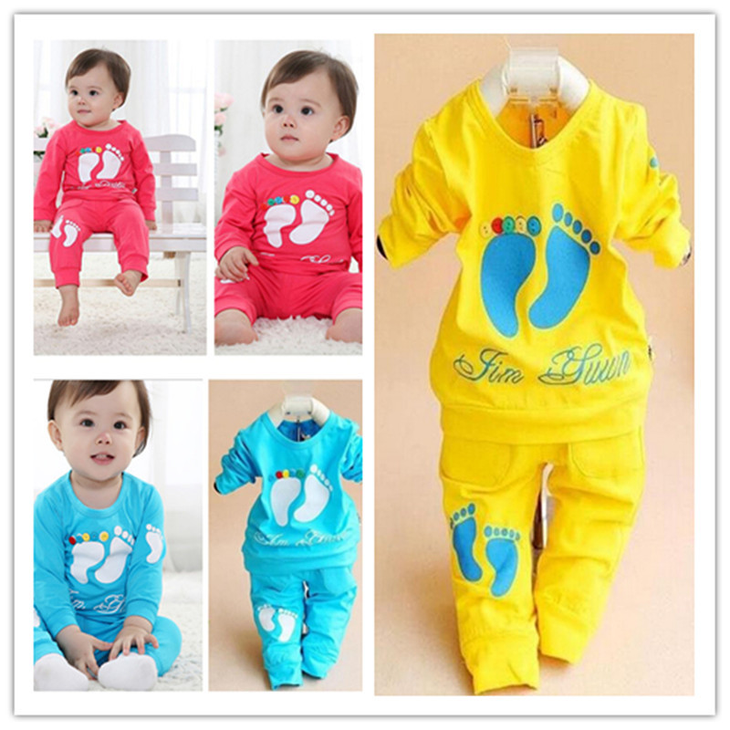 2015 New 2PCS/set baby clothing 100% Cotton brand New Long Sleeve 0-2 years old baby sport suit boys girls children's clothing(China (Mainland))