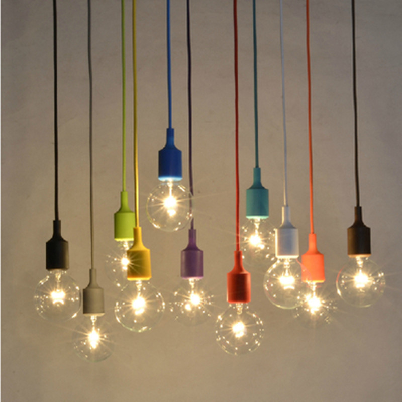 Modern Colorful E27 Silicone Rubber Pendant Lights DIY Art Hanging Pendant Lamp holder lustres e pendentes sala jantar Cord lamp(China (Mainland))