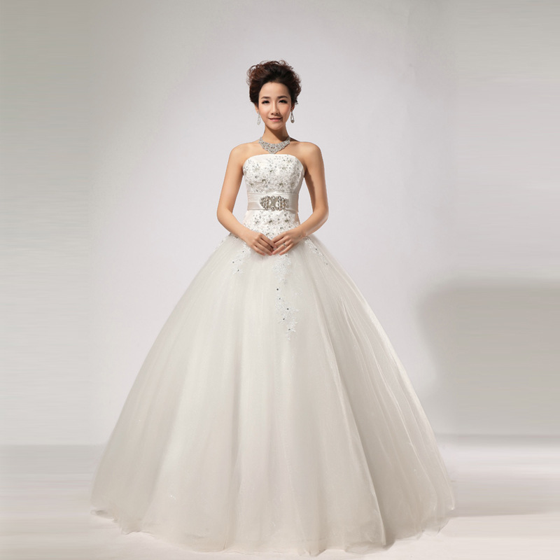 2013 Wholesale Wedding Dress With Thin Straps Hand Stitched Wedding HS269 In Wedding Dresses