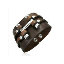 Buy Handmade Genuine Leather Bracelets Fashion Black Brown Punk Wide Cuff Bracelets & bangle Women Men Jewelry 2016 Accessory for $2.96 in AliExpress store
