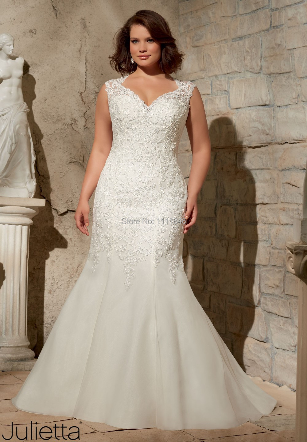 2015 vestido de noiva plus size mermaid wedding gown lace for Plus size lace wedding dresses with sleeves