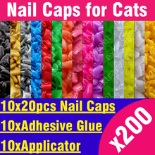 200pcs - Soft Nail Caps for Cats + 10x Adhesive Glue + 10x Applicator /* XS, S, M, L, paw, claw, cover, lot, cat */(China (Mainland))