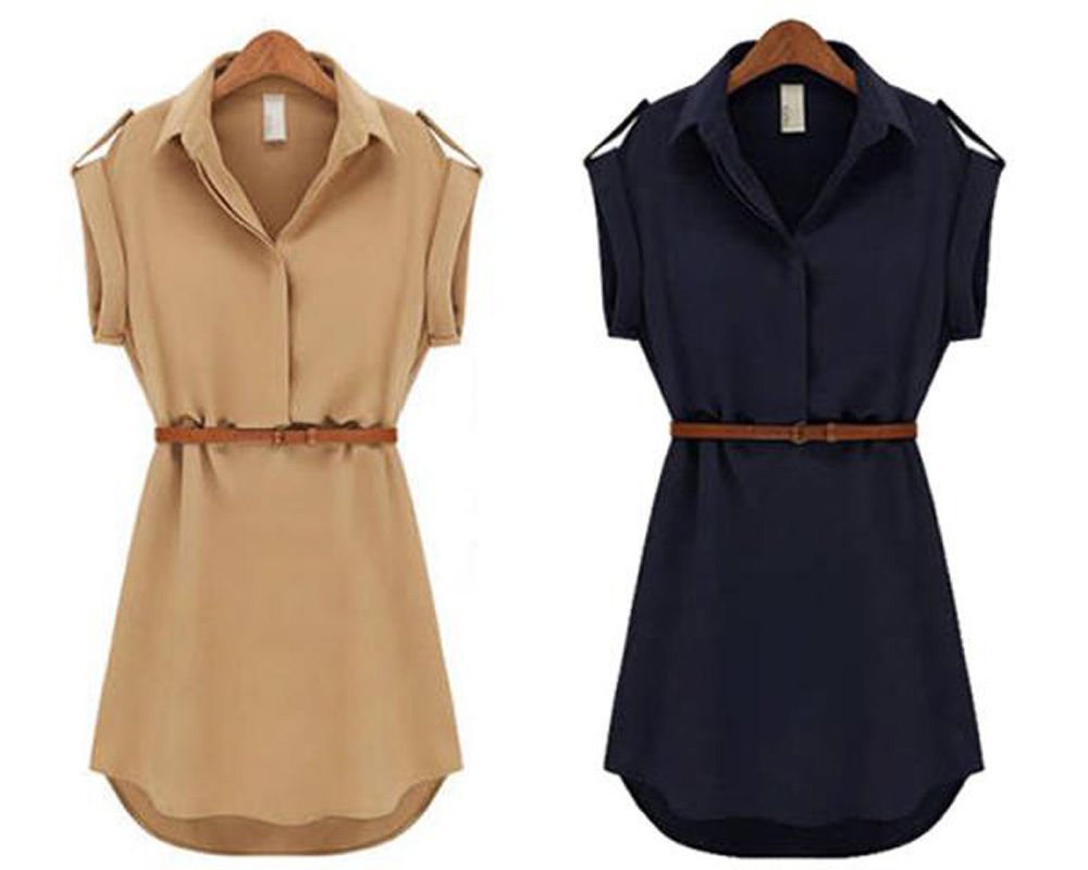 New 2014 Vogue Women's Cap Sleeve Stretch Chiffon Casual OL Belt Blouse Free Shipping(China (Mainland))
