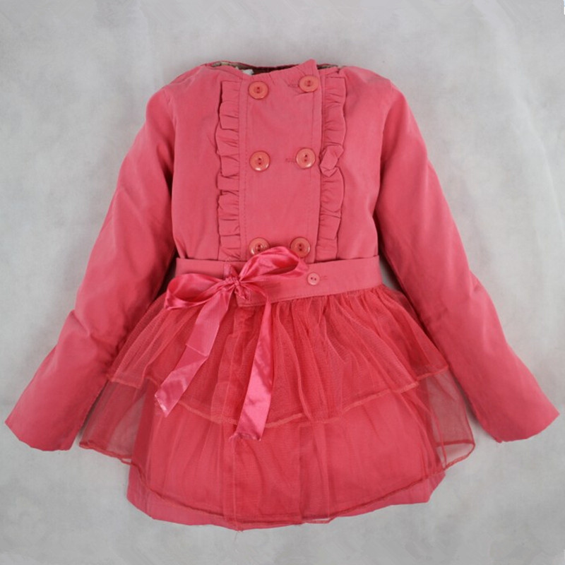 EX012 new fashion 2013 long stylish solid long-sleeve lace bow girl  trench coat children outerwear sping red pink beige<br><br>Aliexpress