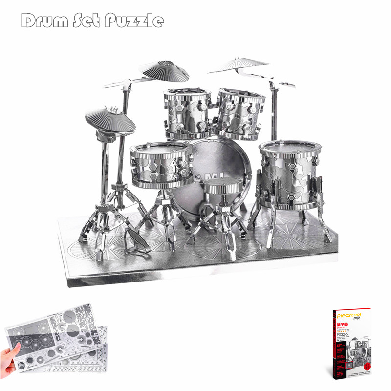 Piececool Drum Kit 3D Metal Puzzle Musical Instrument 3D Metallic Model Kits DIY Funny Metal Earth 3D Jigsaws Educational Toys(China (Mainland))