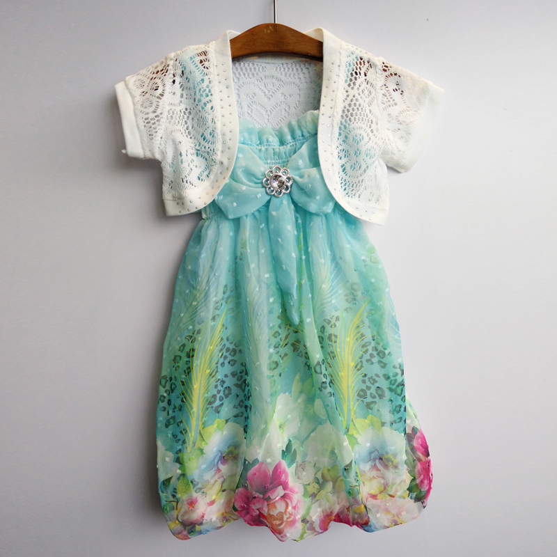girl children's summer style dress flower girl dresses princess party dress girl kid wedding dress clothes children 2 pcs sets(China (Mainland))