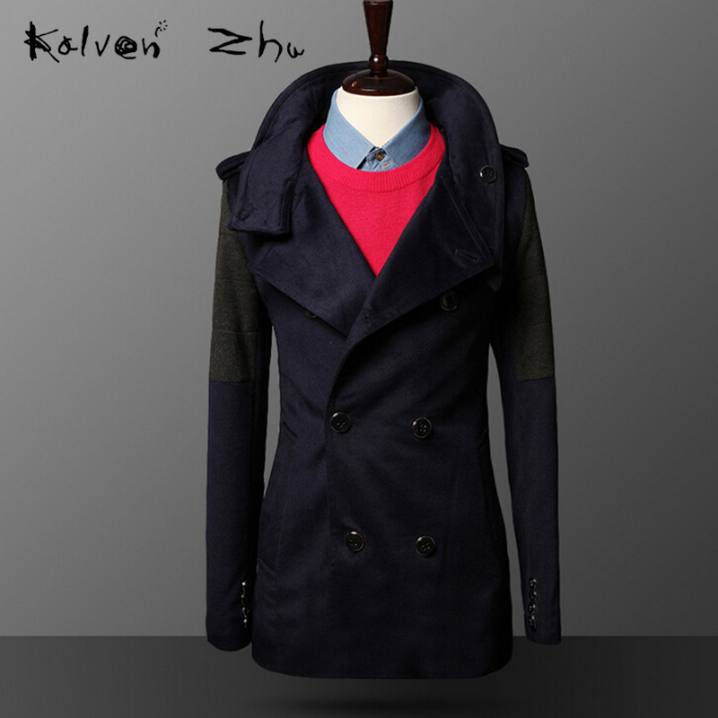 Blue Spring Autumn New 2015 Korean Male Slim Motorcycle Leather Blazer Fashion PU Jacket Mens Suit M-XXL MJ066 - Karen Mok store
