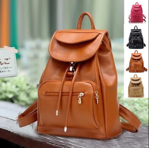 Newest Women's Candy Color Casual PU Leather Backpacks Fashion Travel Bags Students Backpacks Bags