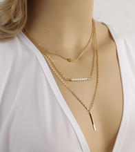 Vintage 3 Layer Gold Chain Necklaces Pendants For Women Trendy Multilayer Pearl Necklace Fine Jewelry 2015