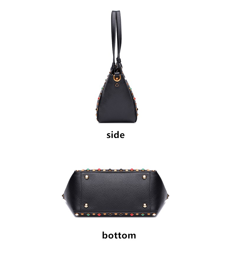 2016 Ladies New Multicolour wide strap rivet shopping bag real genuine leather handbag for women trapeze tote bag shoulder bags